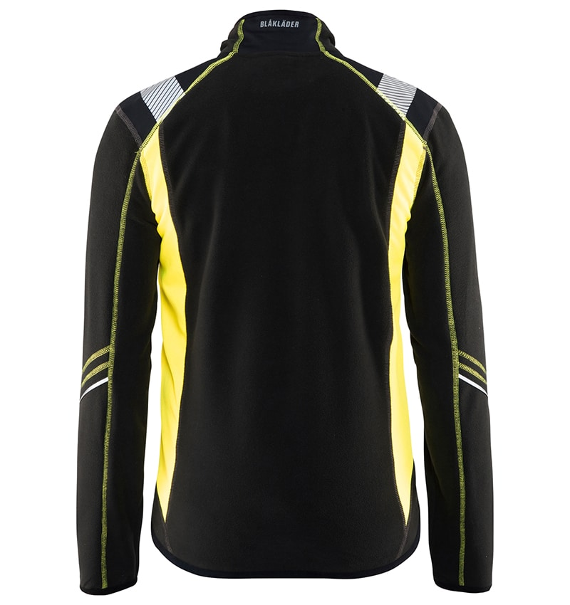 Custom Logo Fleece jacket - WTBL4994 Black Yellow Back - Your Logo - Corporate Apparel - Workwear Toronto - Heat Transfer,
