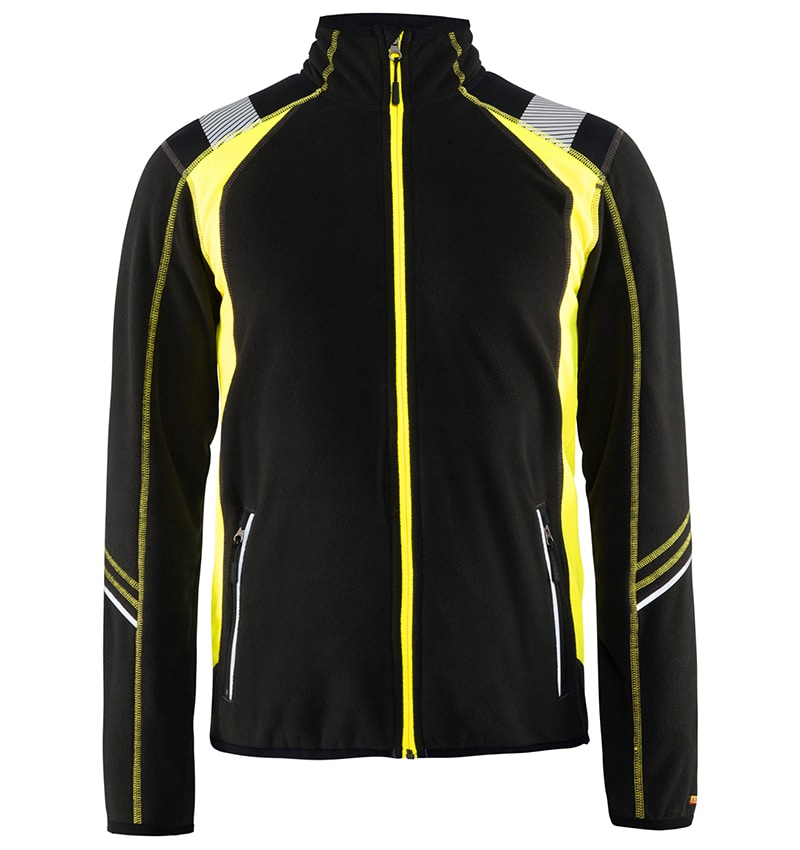 Custom Logo Fleece jacket - WTBL4994 Black Yellow front - Your Logo - Corporate Apparel - Workwear Toronto - Heat Transfer,