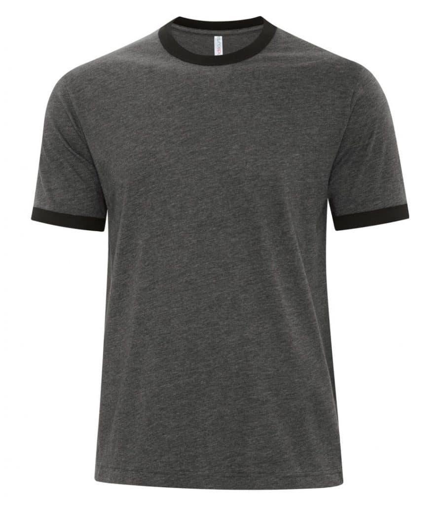 WTSMATC9001 - Charcoal Heather & Black - WorkwearToronto.com - Men's Ringer Tee - Custom T Shirts Cost