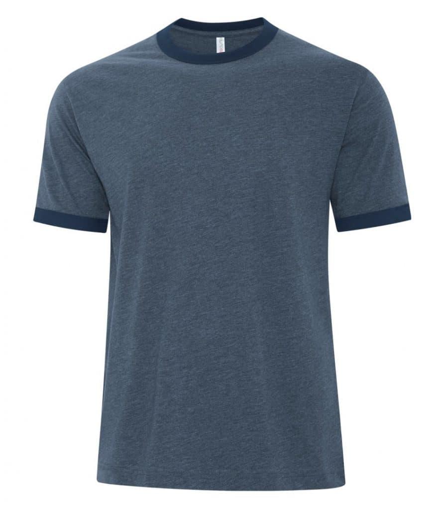 WTSMATC9001 - Navy Heather & True Navy - WorkwearToronto.com - Men's T-Shirts - Custom Shirts Cost - Embroidery, Screen Printing and Heat Press