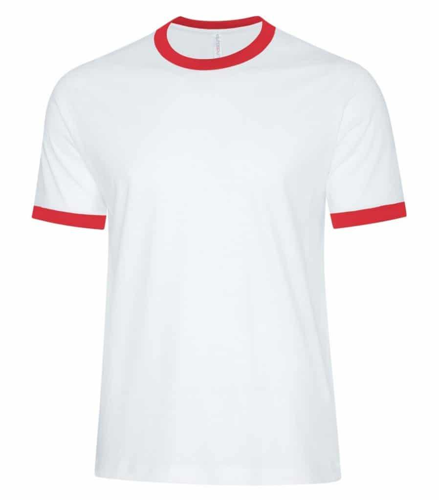 WTSMATC9001 - White & True Red - WorkwearToronto.com - Men's T-Shirts - Custom T Shirts Cost