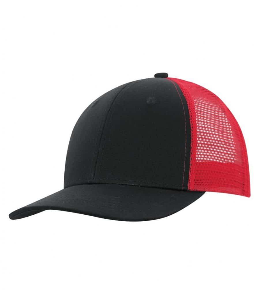 WTSMC1318 - Black - Red - WorkwearToronto.com - Headwear - Baseball Hats - Custom Decoration Embroidery
