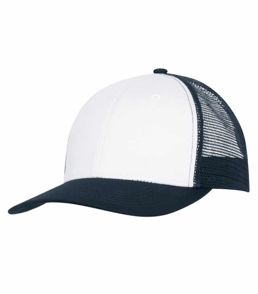 WTSMC1318 - White - Navy - WorkwearToronto.com - Headwear - Baseball Hats - Custom Decoration Embroidery