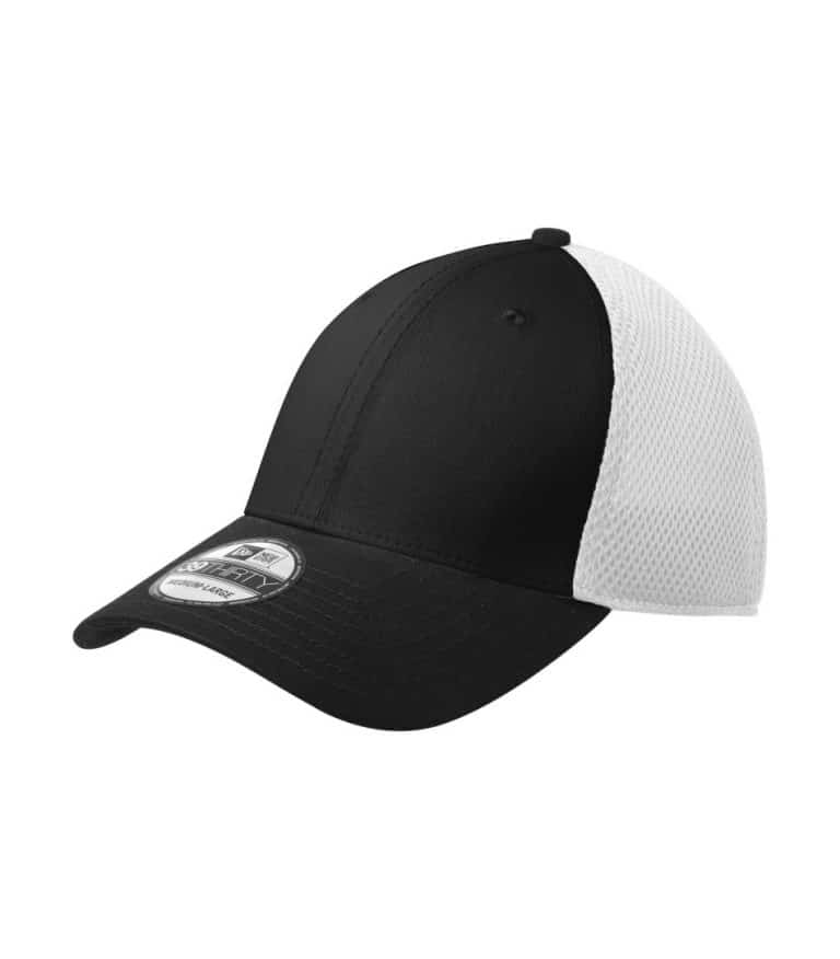 WTSMNE1020 - Black - White - WorkwearToronto.com - Headwear, Toques & Beanies - Custom Mesh Cap - Embroidery - Heat Press