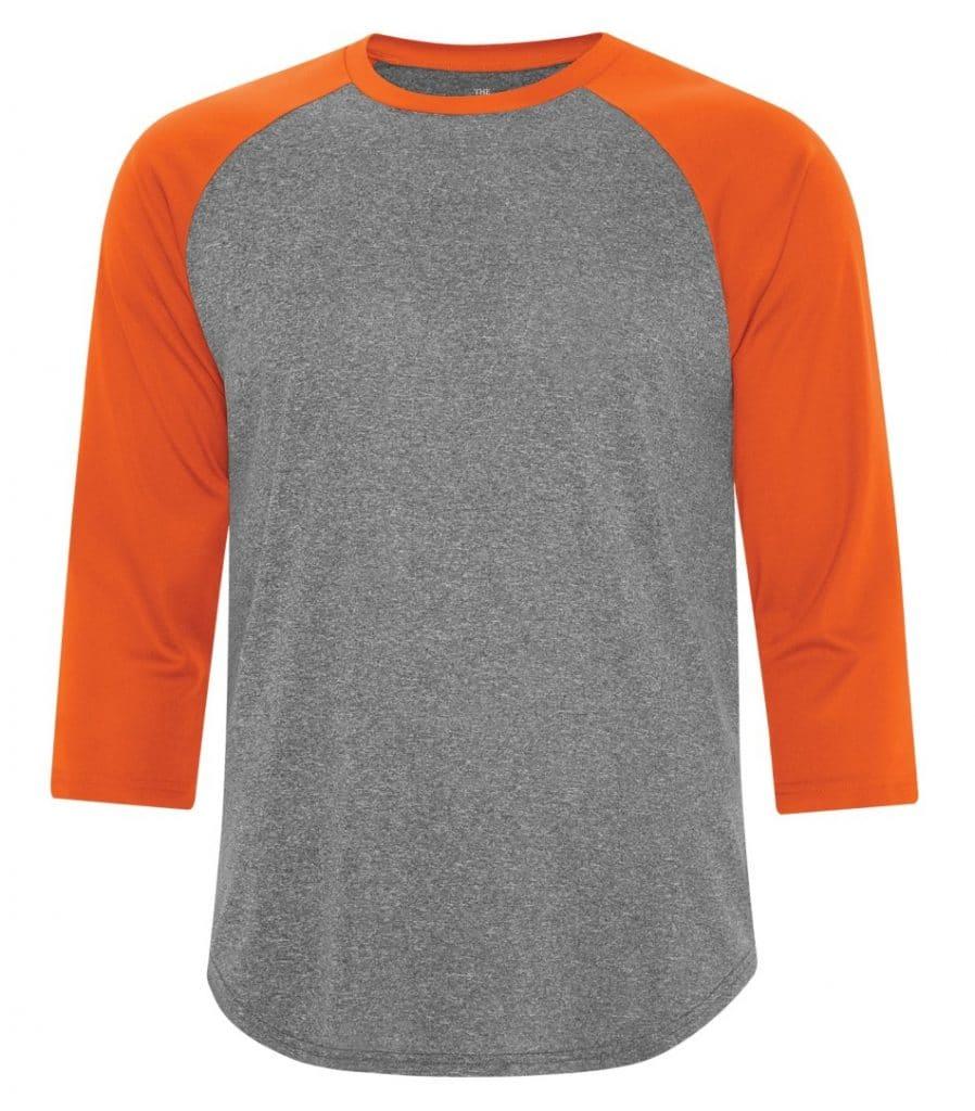 WTSMS3526 - Charcoal Heather & Deep Orange - WorkwearToronto.com - T-Shirts - Embroidery