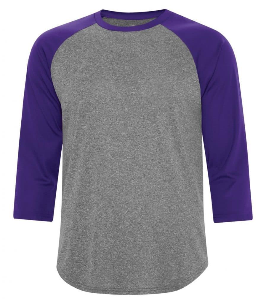 WTSMS3526 - Charcoal Heather & Purple - WorkwearToronto.com - T-Shirts - Custom Clothing in Toronto