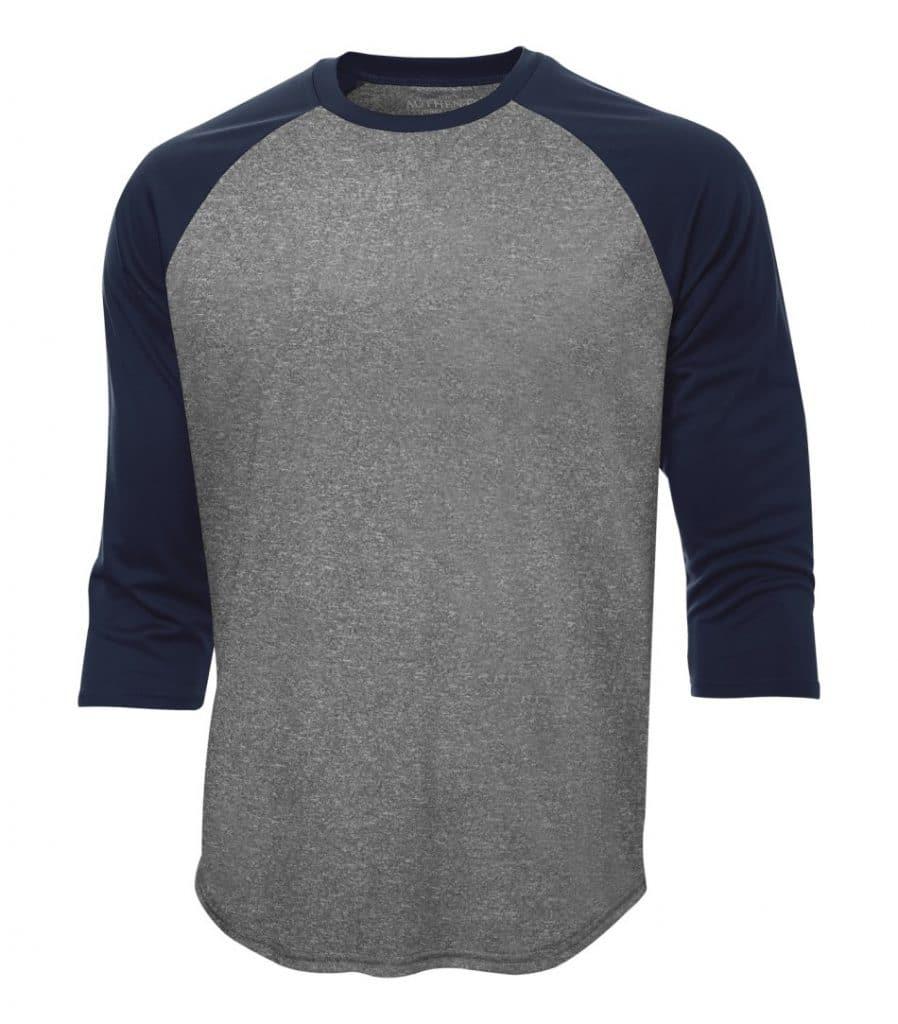 WTSMS3526 - Charcoal Heather & True Navy - WorkwearToronto.com - T-Shirts - Custom T Shirts in Toronto