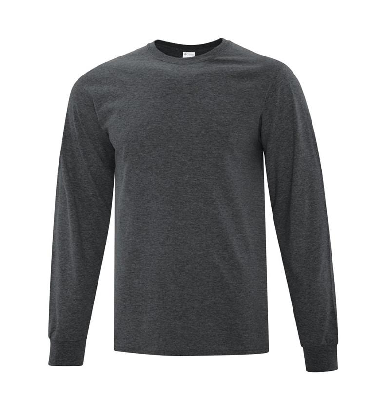 Everyday Cotton Long Sleeve T-Shirt - Workwear Toronto - 100% Cotton - Dark Heather Grey