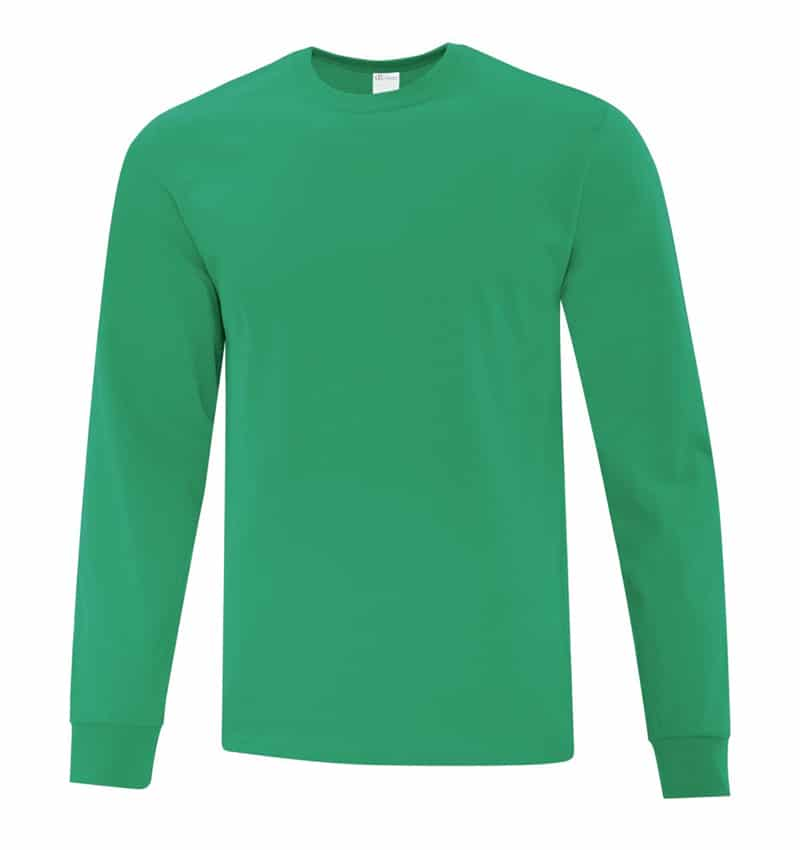 Everyday Cotton Long Sleeve T-Shirt - Workwear Toronto - 100% Cotton - Kelly