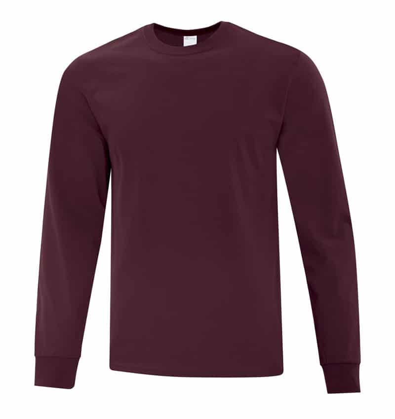 Everyday Cotton Long Sleeve T-Shirt - Workwear Toronto - 100% Cotton - Maroon