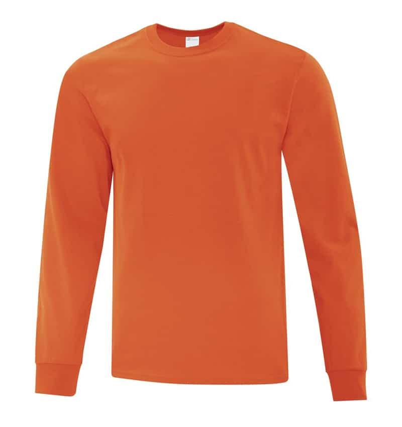 Everyday Cotton Long Sleeve T-Shirt - Workwear Toronto - 100% Cotton - orange