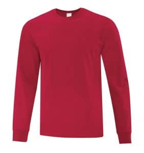 Everyday Cotton Long Sleeve T-Shirt - Workwear Toronto - 100% Cotton - Red