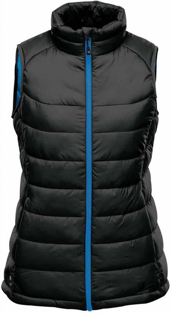 WTSTAFV-1W - Black & Azure Blue - WorkwearToronto.com - Women's Stavanger Thermal Vest - Custom Clothing Embroidery and Heat Press