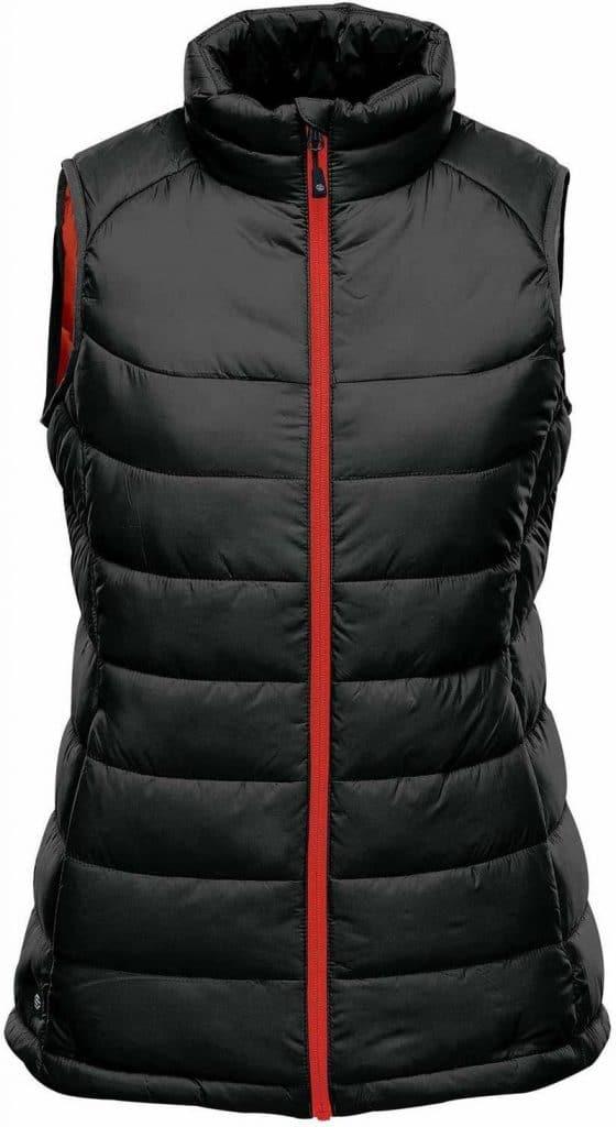 WTSTAFV-1W - Black & Bright Red - WorkwearToronto.com - Women's Stavanger Thermal Vest - Custom Clothing Embroidery and Heat Press