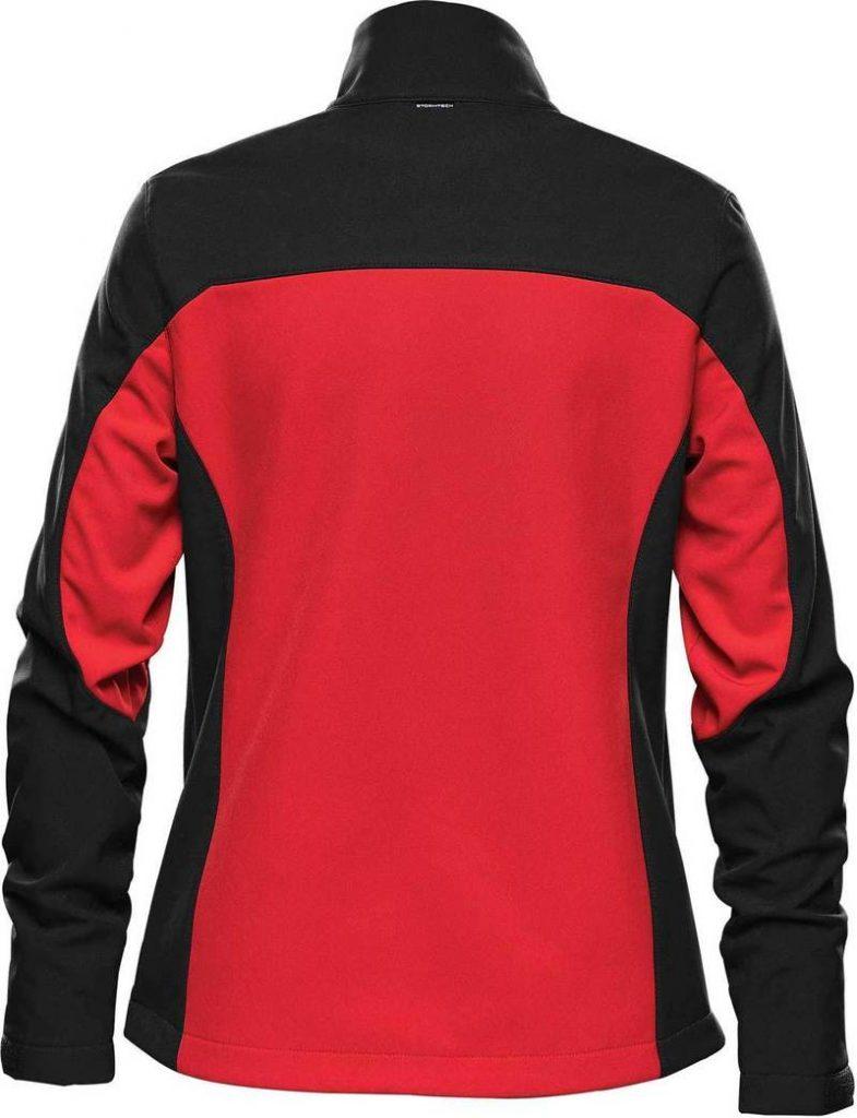 WTSTBHS-3W BRIGHTRED BLACK Back - WorkwearToronto.com - Softshell Jackets with custom logo