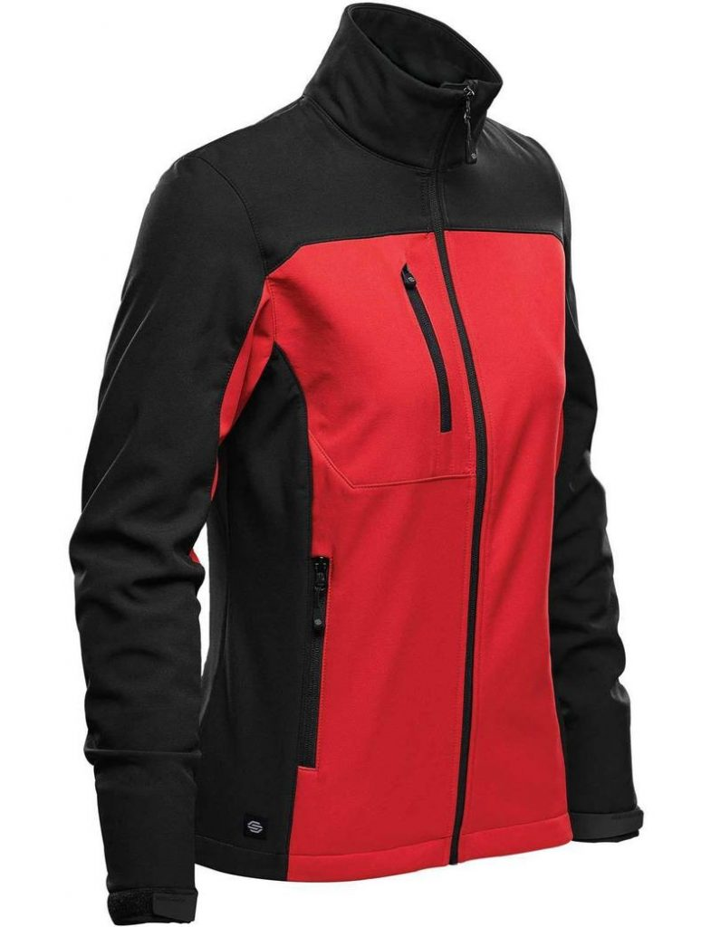 WTSTBHS-3W BRIGHTRED BLACK Front - WorkwearToronto.com - Softshell Jackets with custom logo