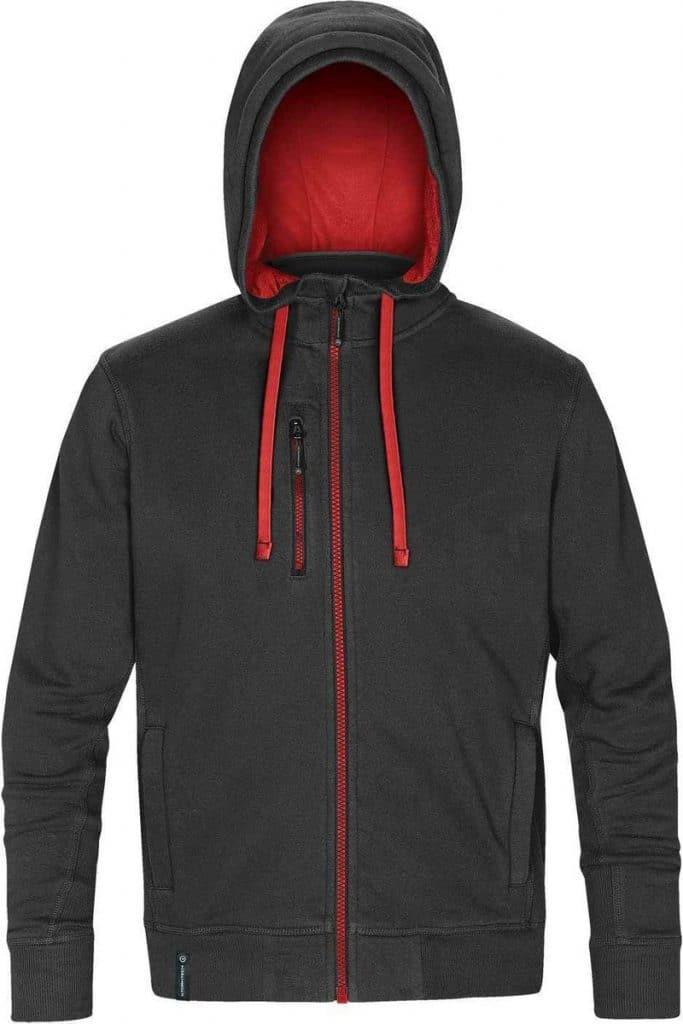 WTSTCFZ-3 - Black & Stadium Red - WorkwearToronto.com - Men's Metro Full Zip Hoodie - Custom Logo