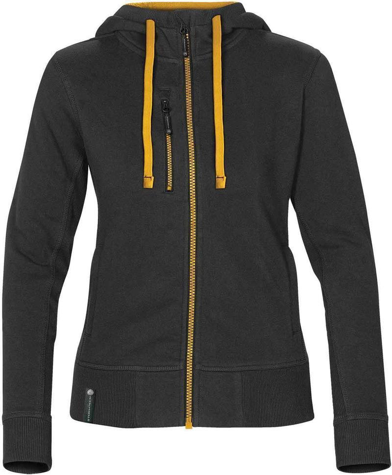 WTSTCFZ-3W - Black & Gold - Women's Full Zip Hoodie - WorkwearToronto.com - Custom Logo
