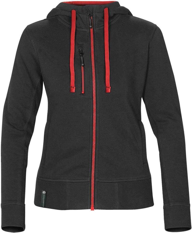 WTSTCFZ-3W - Black & Stadium Red - Women's Full Zip Hoodie - WorkwearToronto.com - Custom Logo