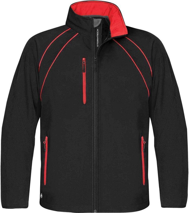 WTSTCXJ-3 Black Red - WorkwearToronto.com - Men's Crew Softshell jackets with custom logo