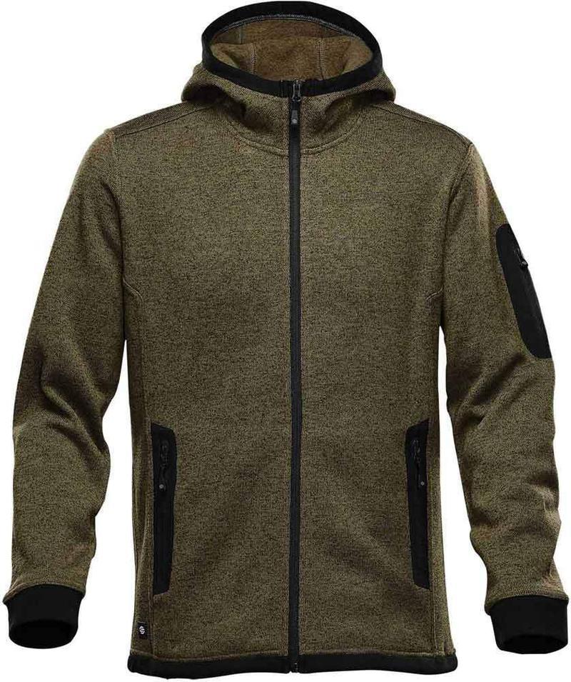 WTSTFH-2 - Sage - WorkwearToronto.com - Men's Knit Fleece Jacket With Hood - Front