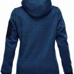 WTSTFH-2W - Denim - WorkwearToronto.com - Women's Knit Fleece Jacket With Hood - Back - Custom Clothing Embroidery and Heat Press