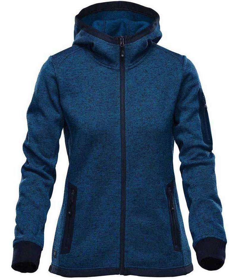 WTSTFH-2W - Denim - WorkwearToronto.com - Women's Knit Fleece Jacket With Hood - Front - Custom Clothing Embroidery and Heat Press