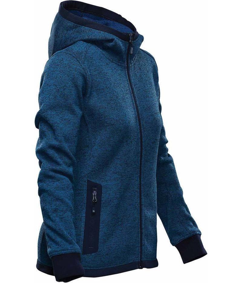 WTSTFH-2W - Denim - WorkwearToronto.com - Women's Knit Fleece Jacket With Hood
