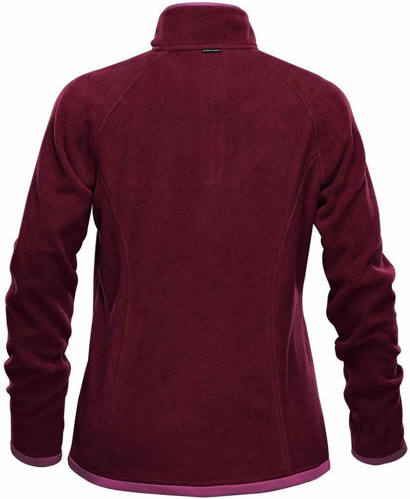 WTSTFPL-1W - Burgundy & Rose - WorkwearToronto.com - Shasta Tech Fleece jacket For Women - Back - Custom Clothing Embroidery and Heat Press
