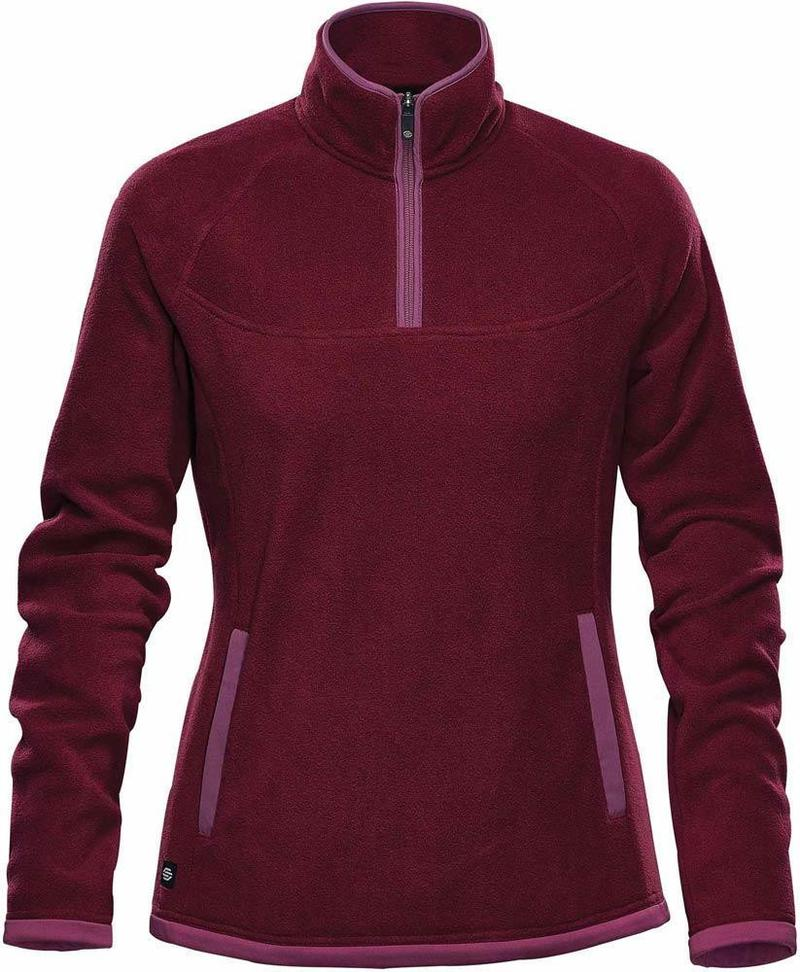 WTSTFPL-1W - Burgundy & Rose - WorkwearToronto.com - Shasta Tech Fleece jacket For Women - Front - Custom Clothing Embroidery and Heat Press