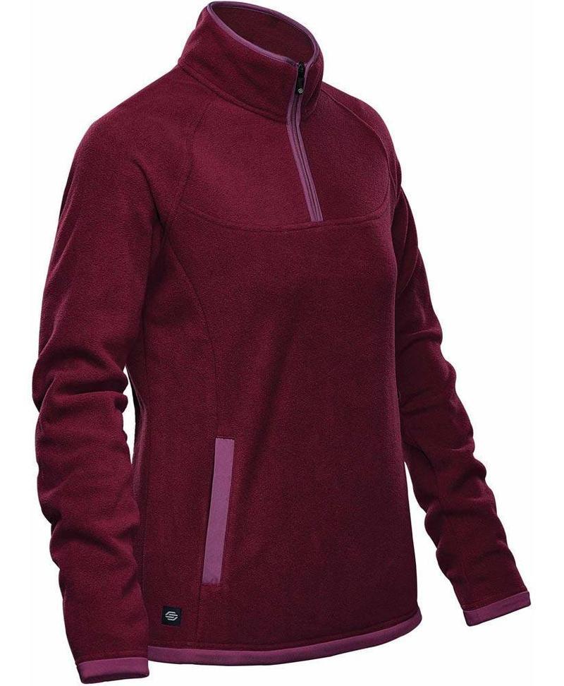 WTSTFPL-1W - Burgundy & Rose - WorkwearToronto.com - Shasta Tech Fleece jacket For Women - Side - Custom Clothing Embroidery and Heat Press