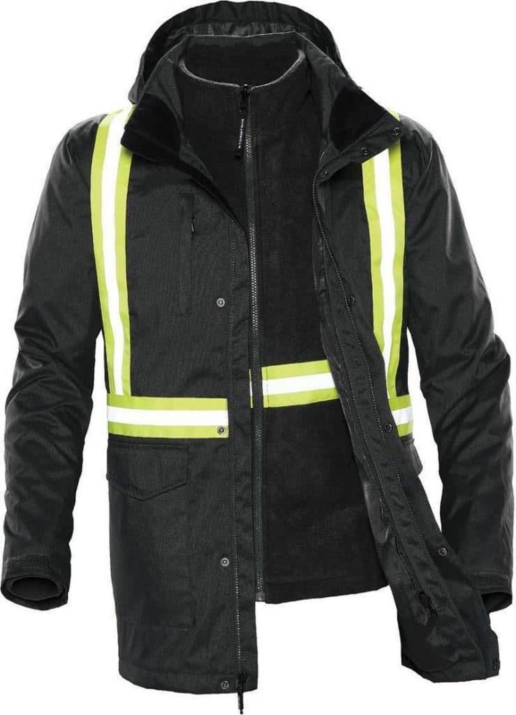 WTSTTPX-3R - Black - WorkwearToronto.com - Unisex Hi-vis 3-in-1 Reflective Jackets
