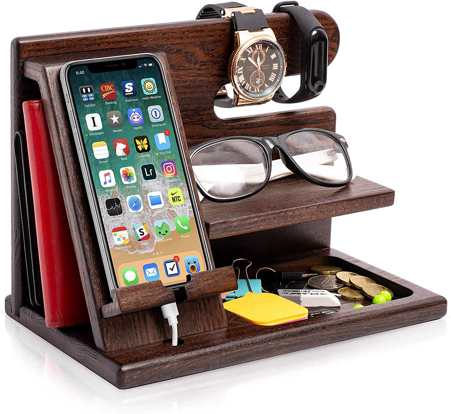 Wood Phone Docking Station - WorkwearToronto.com - Gift Ideas For Men - Christmas Gift ideas for him - Amazon