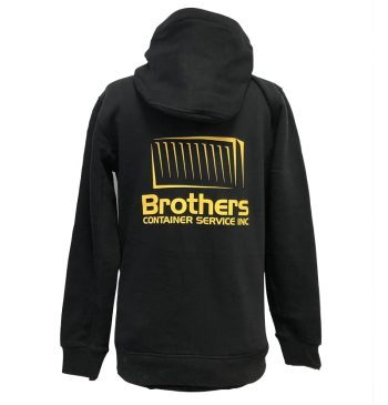 Custom Sweaters - Brothers Construction - Black Yellow Hoodie - Back - WorkWearToronto.com - Workwear Toronto - Heat Transfer